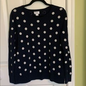Navy blue with polka dots